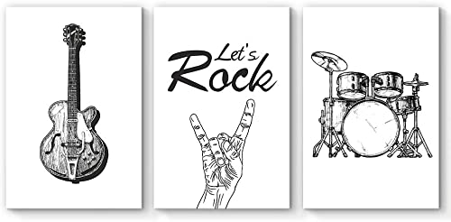 NWT 3 Piece Canvas Wall Art Drum Rock Musical Instruments Painting Artwork