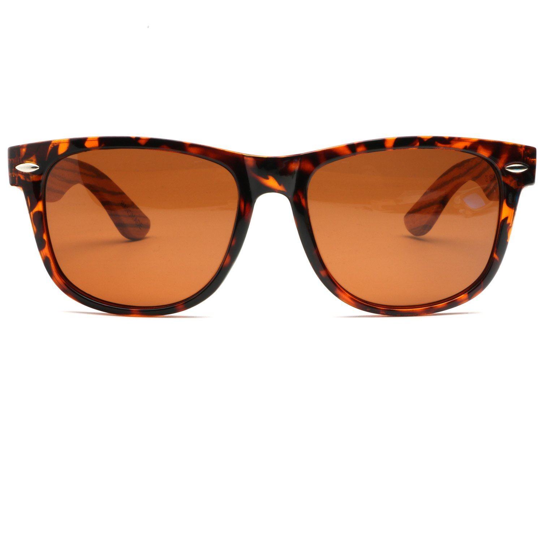 ABLIBI Bamboo Wooden Wayfarer Sunglasses Polarized Driving Eyewear in Wood Box (Brown)