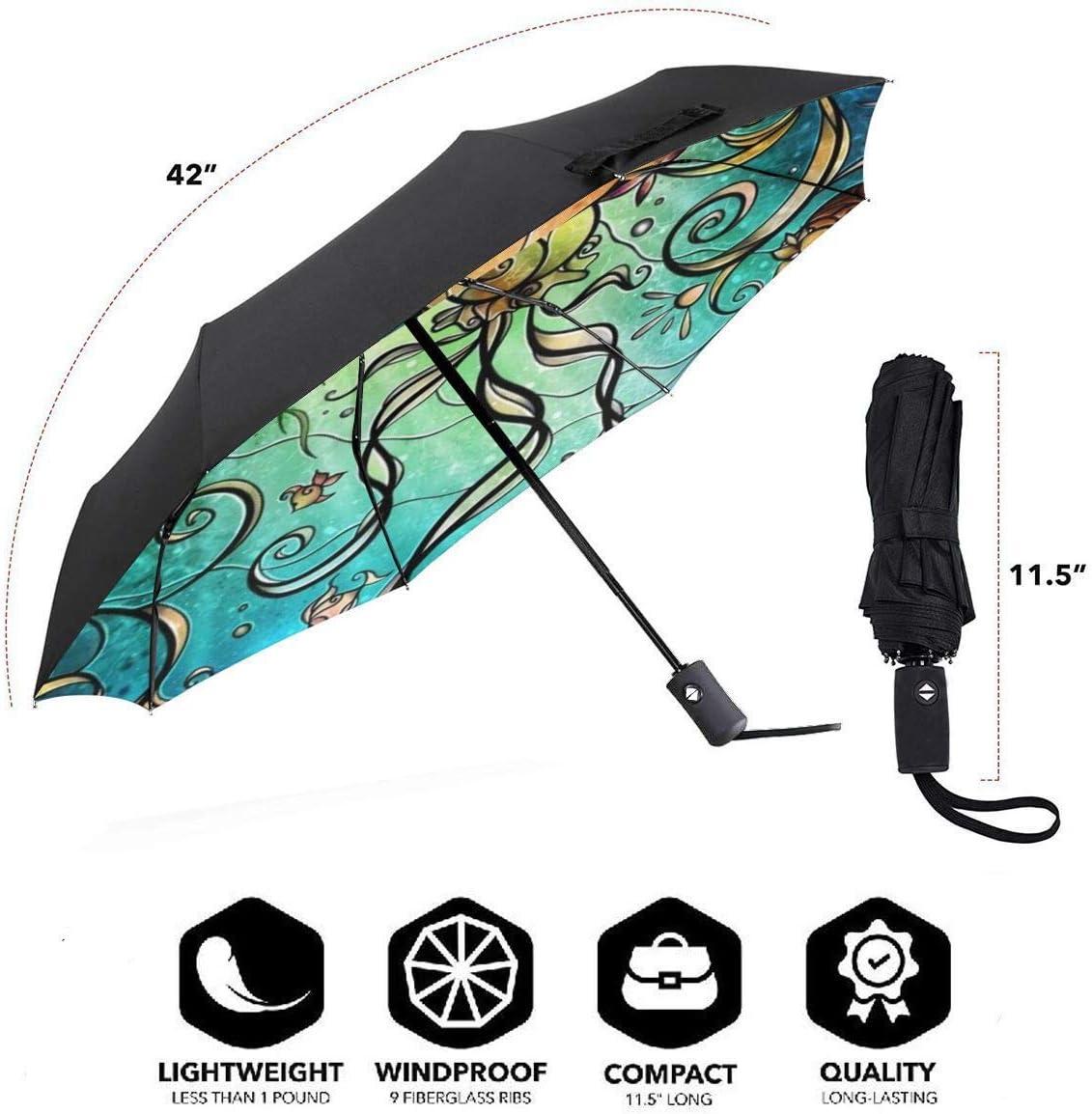 Under The Sea Mermaid Princess Windproof Automatic Tri-Fold Foldable Umbrella Cartoon UV Protection Travel Unbreakable Compact Portable Sun Rain Umbrella