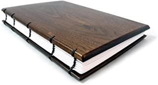 "product image for American Made Hardwood Keepsake Journal, Visitor Register, or Guestbook with Coptic Binding, 6""x 9"", Lined Pages, Natural Walnut Wood Version"