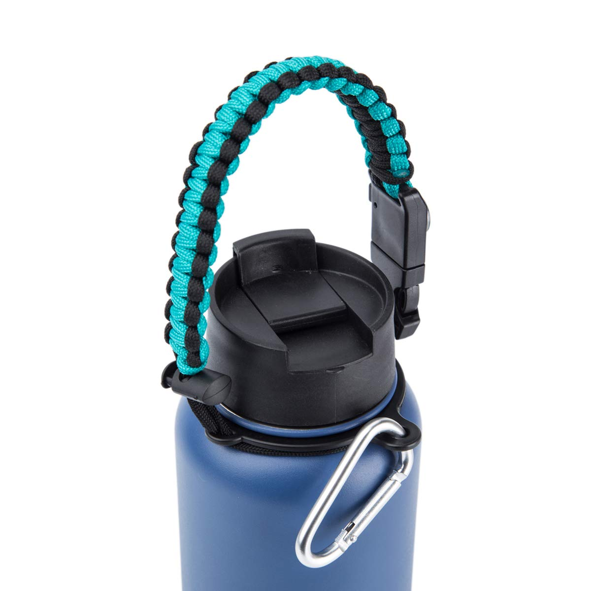 Fits 12 oz to 64 oz bottlebottle Paracord Handle for Wide Mouth Water Bottle,Survival Strap Cord with Safety Ring and Carabiner,Mental Scraper/&Whistle