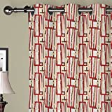 "IYUEGO Modern Colorful Overlapped Geometric Grommet Top Lined Blackout Curtains Draperies With Multi Size Custom100"" W x 108"" L (One Panel)"
