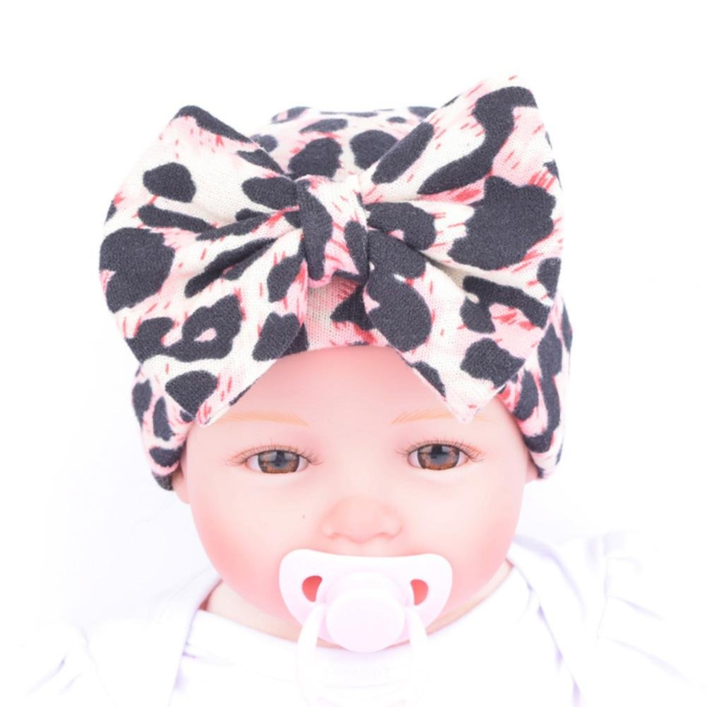 Ownsig Newborn Girl Leopard Hat with Large Bowknot Infant Cap Lovely Soft