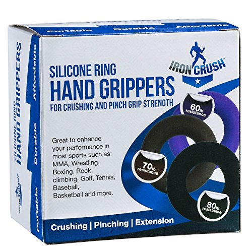Hand Grip by Iron Crush® A Hand & Forearm Exerciser and Strengthener Set of 3 Level Resistance 2 Year Warranty Extension, Crushing & Pinch Grip Training Solution Best Hand Grips on the Market!