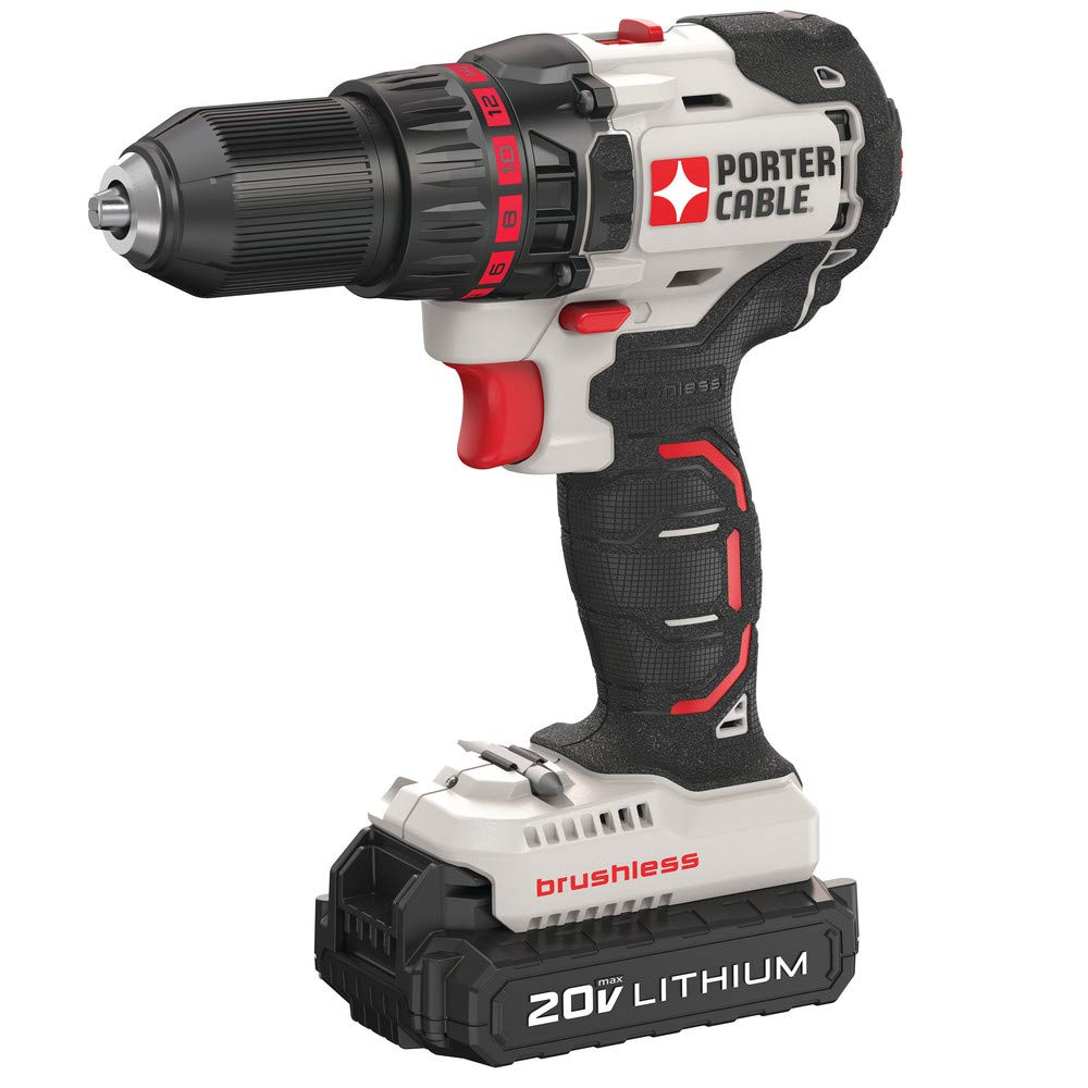 Porter-Cable PCC608LBR 20V MAX Cordless Lithium-Ion Brushless Compact Drill Driver Kit 1.3 Ah Renewed
