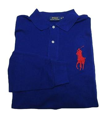 Polo Ralph Lauren Men\u0027s Big and Tall Big Pony Cotton Polo Shirt Long Sleeve  Pique Mesh