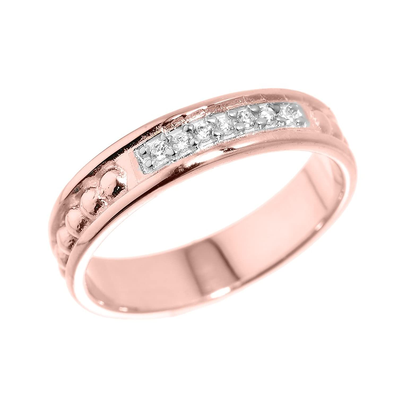 Amazon.com: 14k Rose Gold 7-Stone Wedding Anniversary Band Ring ...
