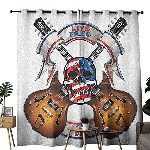 duommhome Guitar Decor Curtains Crossed Electric Guitars with Skull American Flag Live Free Or Die Biker Culture Set of Two Panels W120 x L96 Multicolor ()