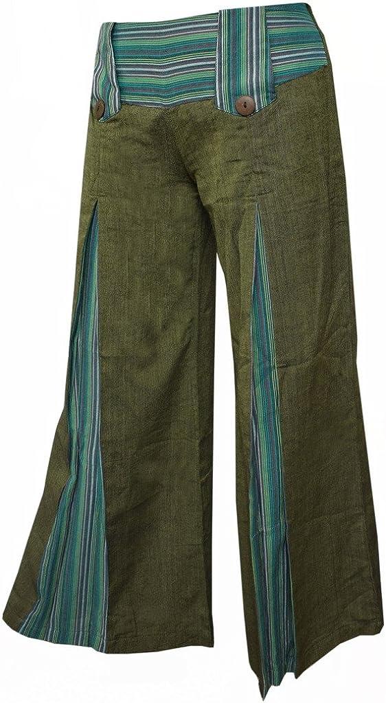 Gheri se/ñoras acampanado algod/ón verde retro pantalones