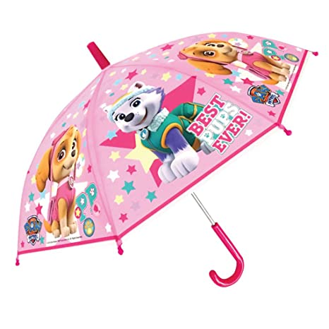 Chanos Paw Patrol Safety Runner PoE Embossed Folding Umbrella, 38 cm, Light Pink Paraguas