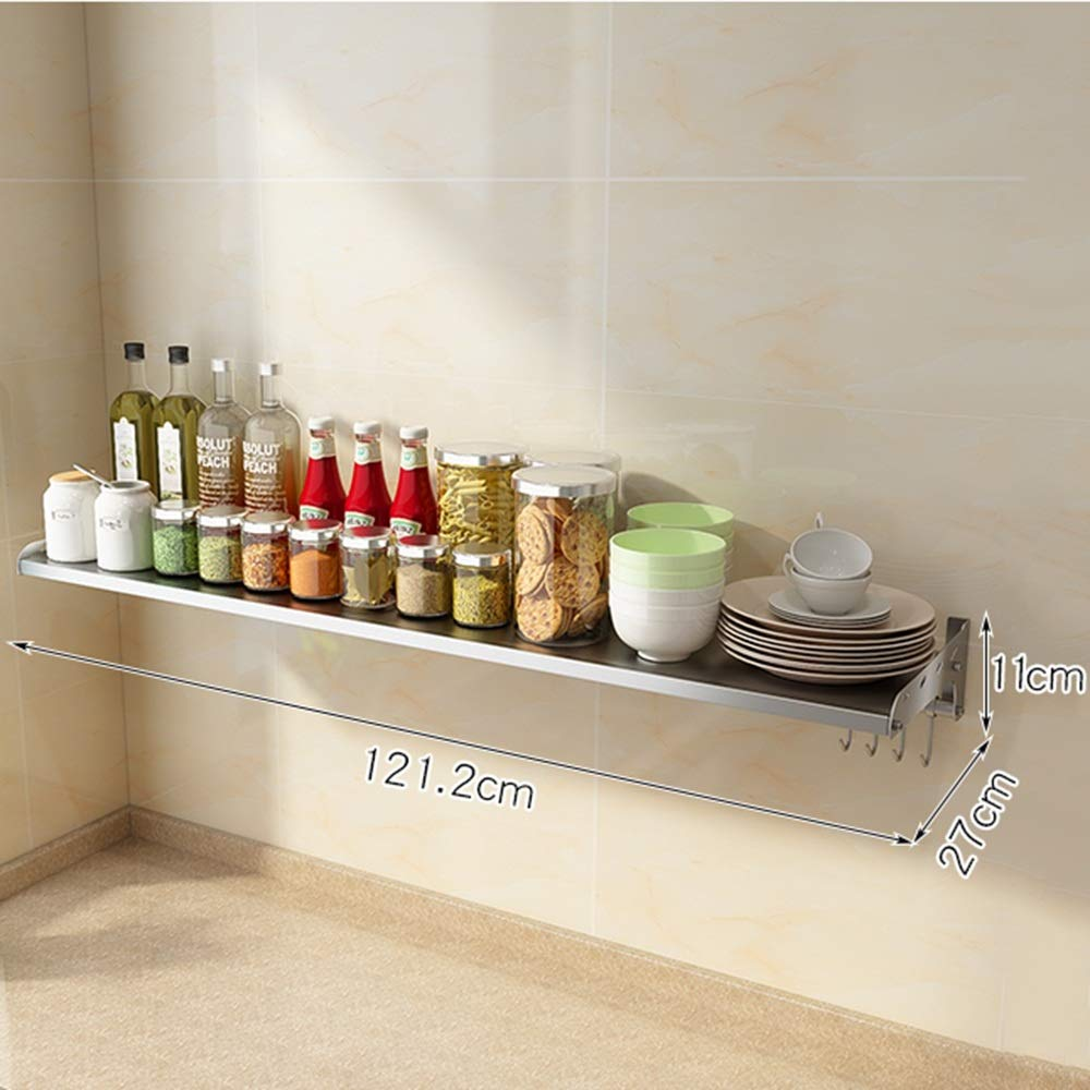 HUO 304 Stainless Steel Kitchen Rack Wall-Mounted Seasoning Microwave Oven Rack - Multi-Size Optional (Color : 27cm, Size : 121.2cm)