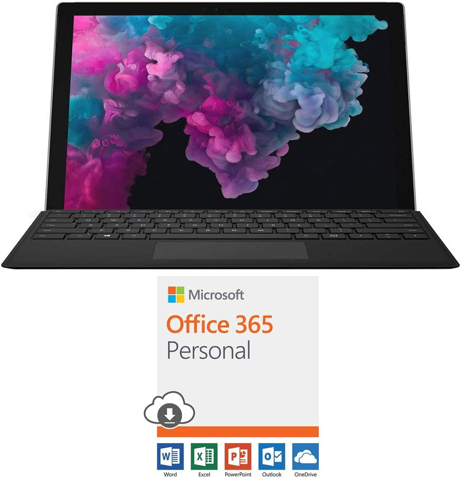 "Microsoft NKR-00001 Surface Pro 6 12.3"" Intel i5-8250U 8GB/128GB with Black Pro Type Cover Bundle with Microsoft Office 365 Personal 1-Year Subscription for 1 Person"