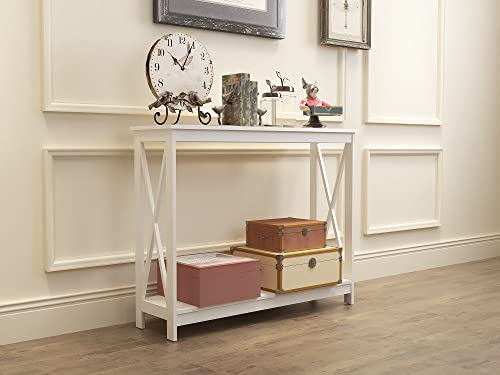 eHomeProducts White Finish 3-Tier X-Design Occasional Console Sofa Table Bookshelf