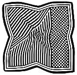 Black White Abstract Printed Small Square Fine Silk Scarf