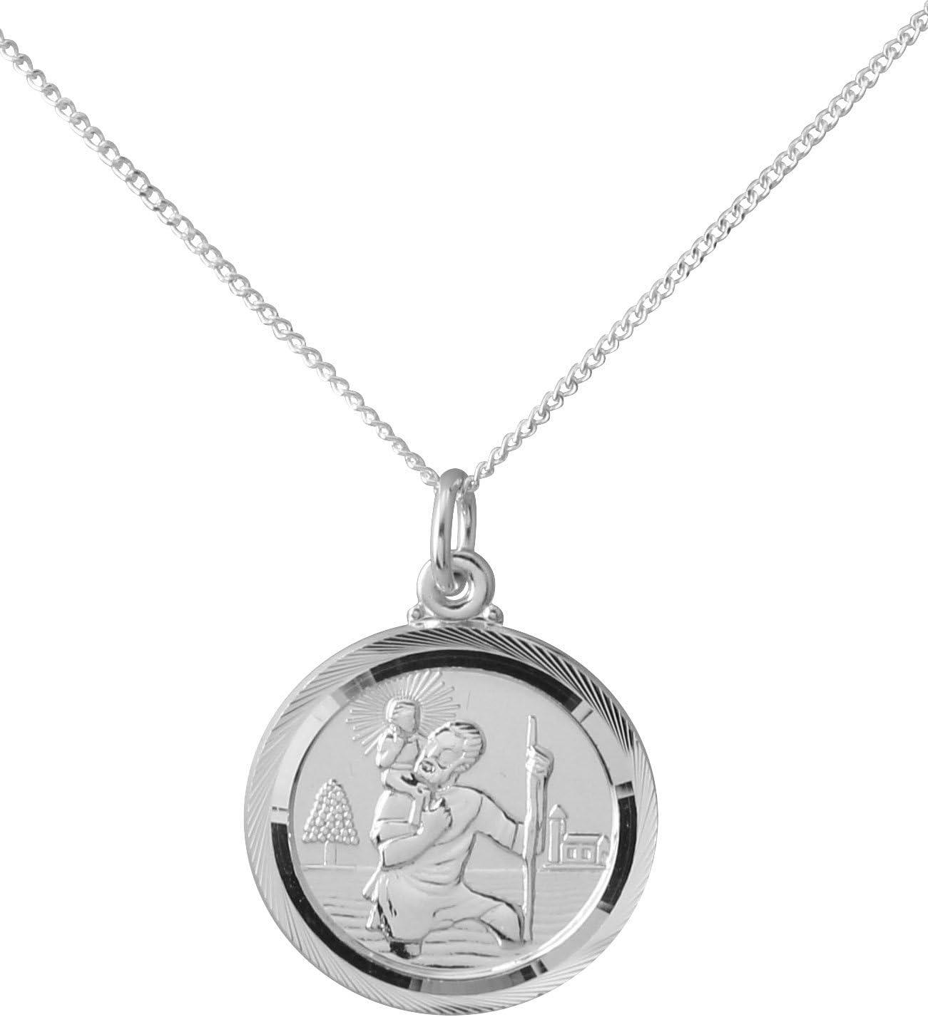 Medalla de San Cristóbal de plata de ley con detalles de sello 925. Decorado en la parte delantera y trasera. Regalo ideal para nacimiento, bautizo o confirmación, con estuche de presentación