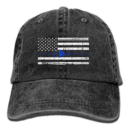Baseball Cap Thin Dirt Bike Heartbeat Flag - Adjustable Trucker Hat Cotton Denim, DanLive Thin Dirt Bike Heartbeat Flag