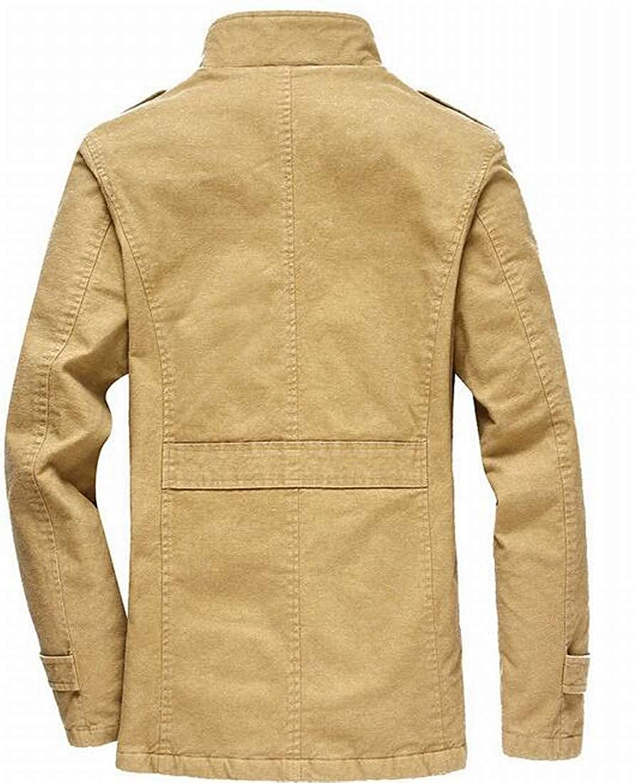 ARTFFEL Men Autumn Winter Lapel Solid Color Single Breasted Thermal Quilted Jacket Coat Outerwear