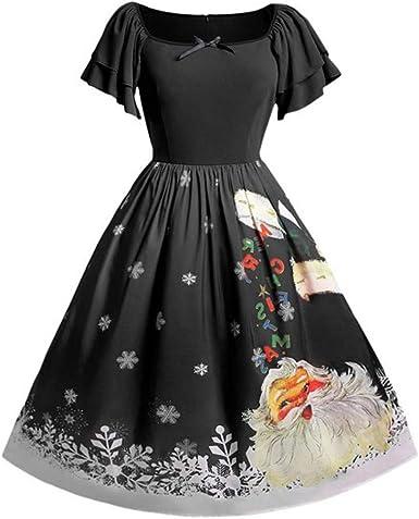 Zyueer Robes Grandes Tailles Elegantes Noel Imprime Dress Hiver Manches Courte En Mousseline Imprimees Vintage Chic Pas Cher Amazon Fr Vetements Et Accessoires