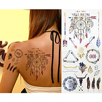 8d03fdccc 8 Sheets Gold Tattoo Stickers for Women,Wristband Finger Eyes Arm Wrist  Multicolor Face Temporary