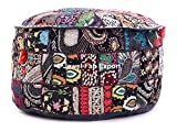 Indian Vintage Handmade patchwork Gypsy Ottomans Stool Seat , Round Ottoman Stool Pouf Pillow, ottoman pouffe sheat, Bohemian Patch Work Ottoman Cover ottoman pouffe in homePOUF COVER ONLY