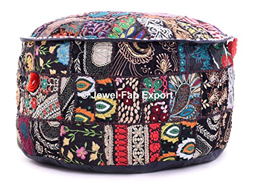 Indian Vintage Handmade patchwork Gypsy Ottomans Stool Seat , Round Ottoman Stool Pouf Pillow, ottoman pouffe sheat, Bohemian Patch Work Ottoman Cover ottoman pouffe in homePOUF COVER ONLY by Jewel Fab Art