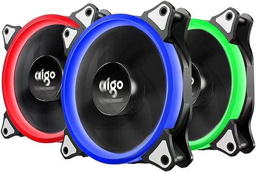 AIGO Pack de 3 Ventiladores de Refrigeración de la CPU de 4 Pines ...