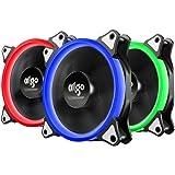 AIGO Ventola PC 3 Packs con Case Standard Raffreddamento da 120mm Alta Potenza CPU 4 Pines con il Supporto LED
