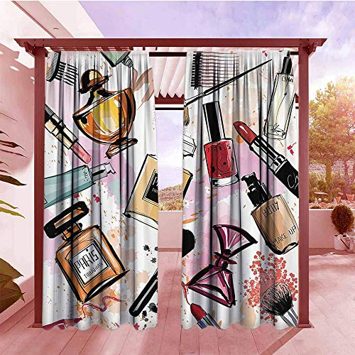 Panel 84l (Outdoor Rod Pocket Curtains Girly Decor Cosmetic and Make Up Theme Pattern with Perfume and Lipstick Nail Polish Brush Modern City Lady Set of 2 Panels W84x84L Multi)