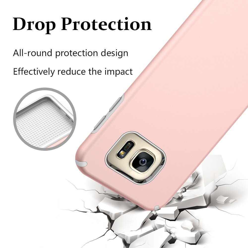 S7 Case, Galaxy S7 Case, MagicSky Slim Corner Protection Shock Absorption Hybrid Dual Layer Armor Defender Protective Case Cover for Samsung Galaxy S7 (Rose Gold)