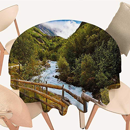 (Picnic Circle Table Cloths Nature Scenery with Bridge Lake Briksdal Glacier Travel Themed Art Photo for Family Dinners or Gatherings, 67 INCH Round)