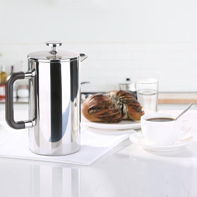 ecooe Cafetera de émbolo de Acero Inoxidable de 1 Litro con 2 ...