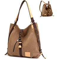 Women Canvas Hobo Handbag Backpack 3 Ways Shoulder Bag Convertible Casual Daypack