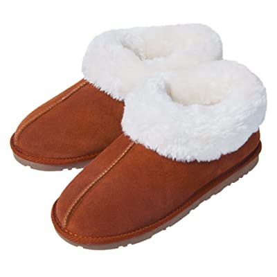 festooning Womens Sherpa Plush Lined Microsuede Boots Slipper Memory Foam Anti-Slip Indoor Outdoor | Slippers