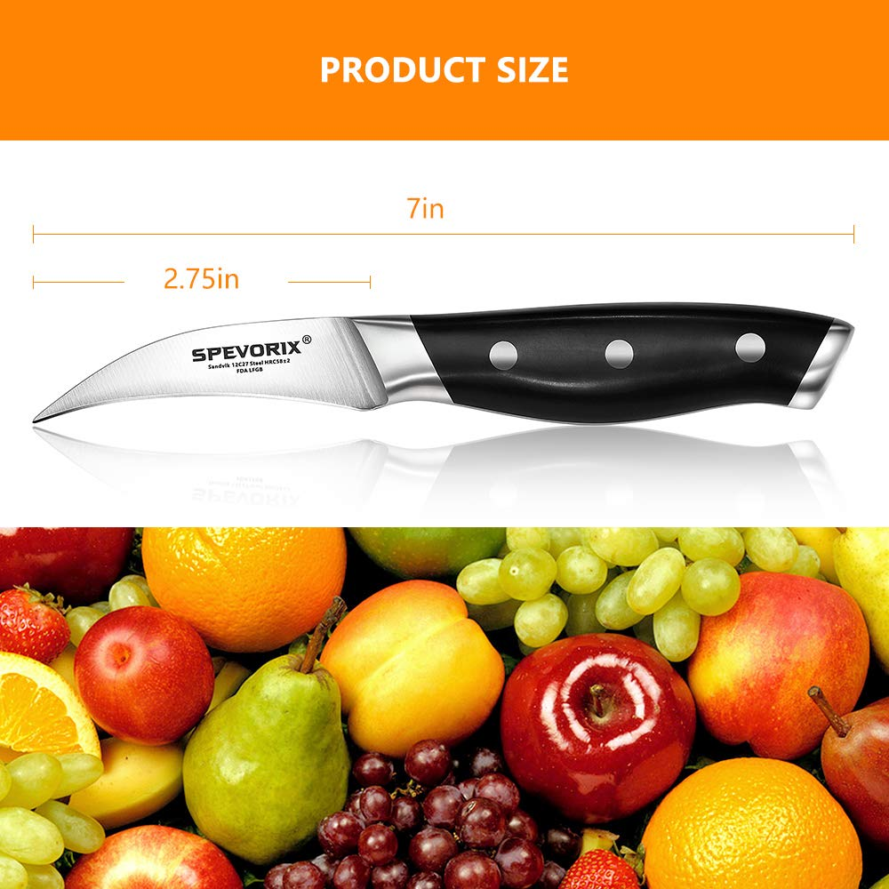 Peeling Knife,2.75-Inch Bird's Beak Paring Tourne Knife,High Carbon Sweden Stainless Steel Blade with Ergonomic ABS Handle,Professional Chef Fruits Knives. by SPEVORIX (Image #3)