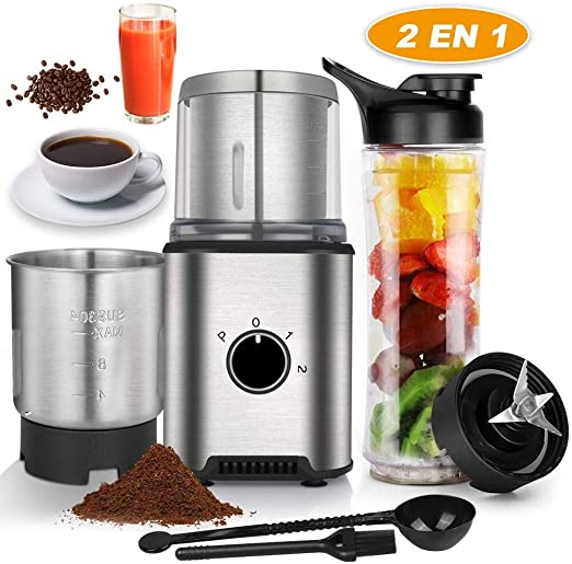 Anpro Molinillo de Café Eléctrico de Acero Inoxidable con 2 Tazas y Botella de Zumo para Pimienta,Sal,Especias,Semillas,Frutos,350W Potencia,2 Usos ...