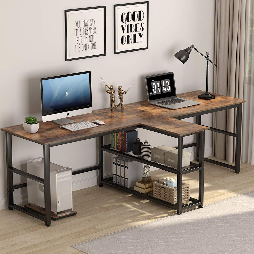 Tribesigns 94 5 Inch Computer Desk Extra Long Two Person Desk With Storage Shelves Double Workstation Office Desk Study Writing Desk For Home Office Rustic Brown Amazon In Home Kitchen