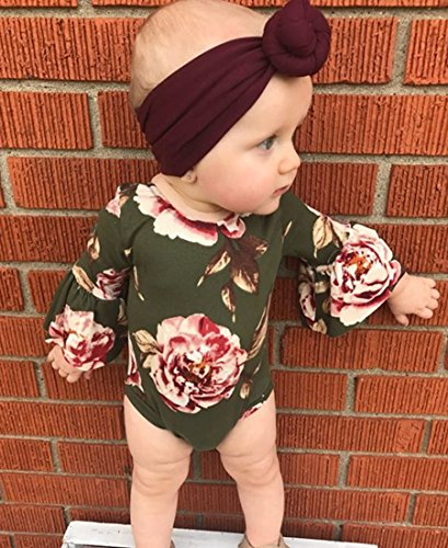MaBaby-Newborn-Baby-Girl-Floral-BodysuitHeadnband-2pcs-Summer-Flare-Sleeve-Fashion-Jumpsuit-0-24Months