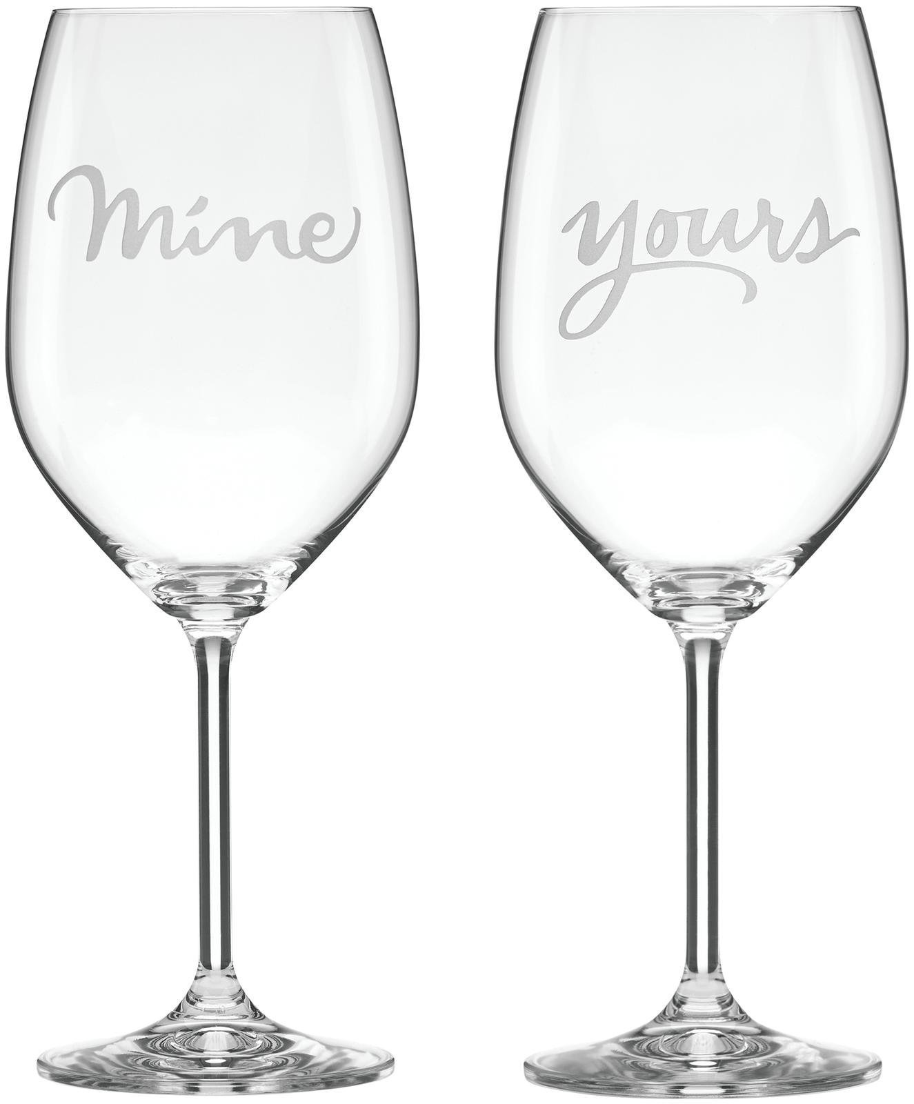 kate spade new york Two of a Kind Mine & Yours Wine Glass Pair by Lenox