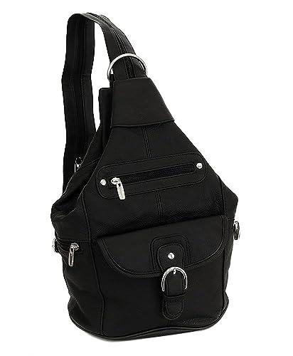 0f154ca076489 Amazon.com: Womens Leather Convertible 7 Pocket Medium Size Tear Drop Sling  Backpack Purse Shoulder Bag, Black: Clothing