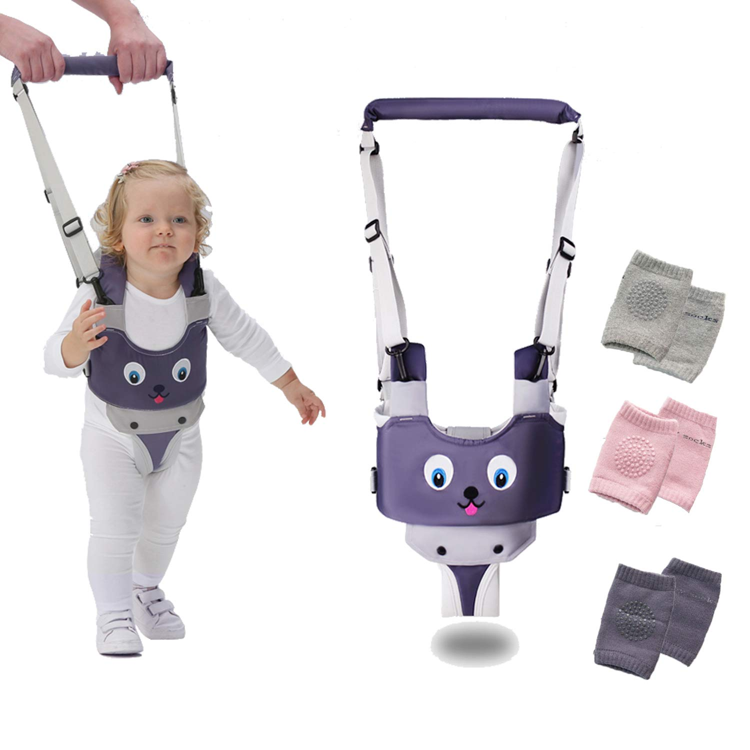 Baby Walking Harness, Adjustable Handheld Kids Walker Helper Toddler Infant Walker Harness Assistant Belt, Made of Breathable Knitted Fabric Layers,with 3pcs Baby Crawling Knee Pads