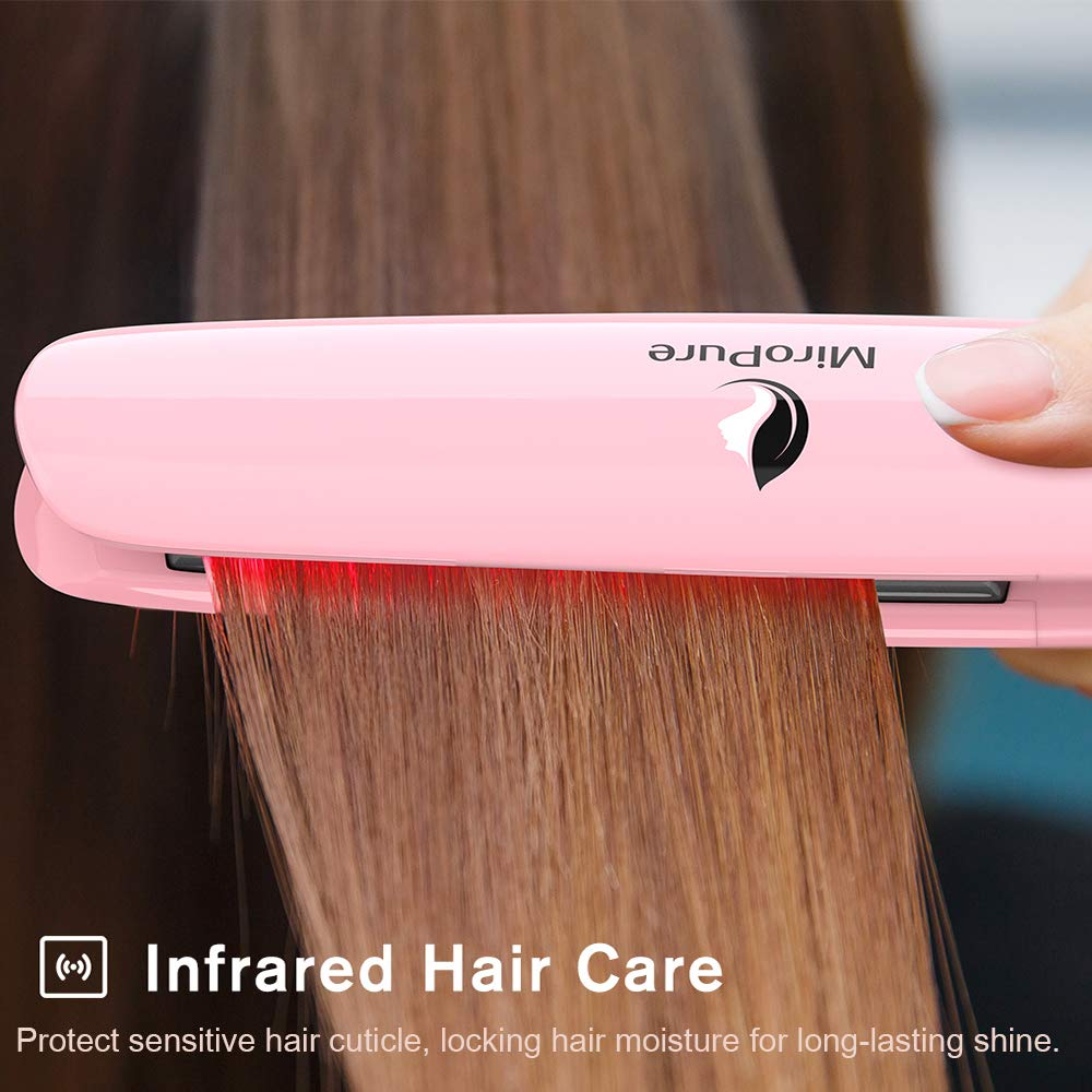 MiroPure 2-in-1 Infrared Ceramic Flat Iron Hair Straightener, Suitable for All Hair Types, Making Hair Shiny and Silky