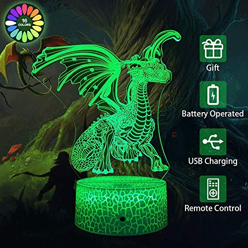 ChristmasLights3D Phantom Children'S Light 3D Night Light Bedside Light 16 Colors, With Remote Controlled Dragon Toy, Perfect Birthday For Boys And Girls