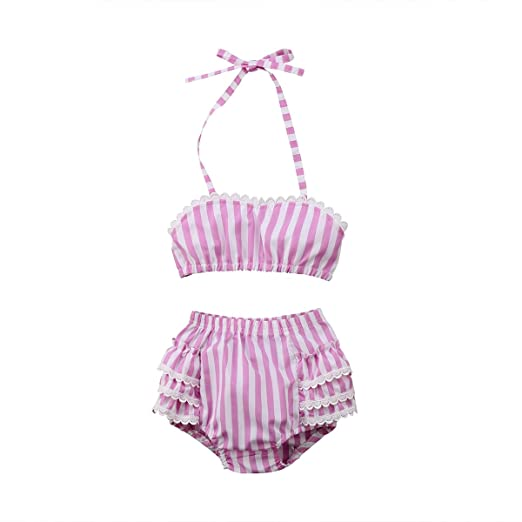 dceb1cf45dd29 yannzi Toddler Baby Girl Bikini Swimsuit Lace Striped Halter Top Ruffle  Shorts Sunsuit Clothes 2 Pcs