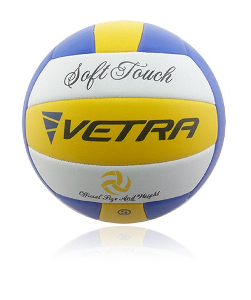 Vetra Voleibol Toque suave Volley Bola funcionario Tamaño 5 Amarillo / Azul / Blanco o Verde / Azul / Blanco al aire libre cubierta playa Gimnasio Juego de Pelota Nueva (Amarillo / Azul / Blanco) V151113