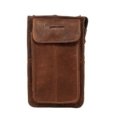 DIOULAORENTOU Mini Waist Pack Vintage Crazy Horse Leather Purse Belt Bag for Men