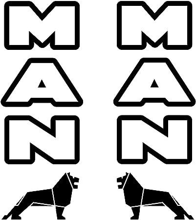 Myrockshirt 2x Manaufkleber Schriftzug Mit Logo Löwe Lkw Truck Je Ca 25cm Aufkleber Sticker Decal Autoaufkleber Uv Waschanlagenfest Profi Qualität Auto