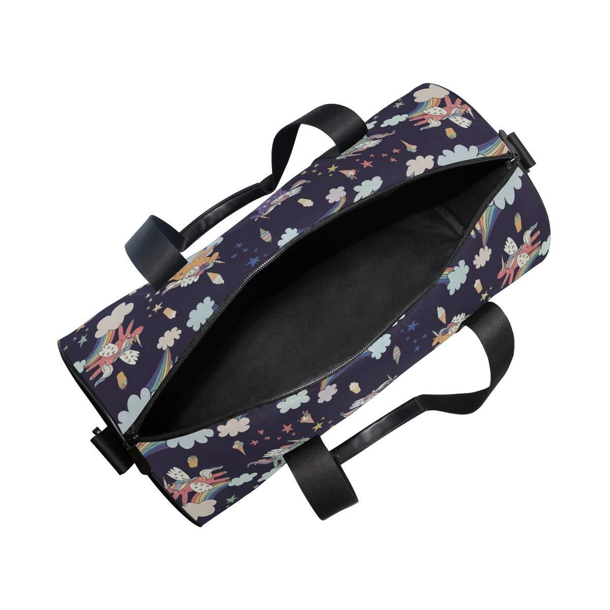 WIHVE Gym Duffel Bag Unicorn Rainbow Cloud Sports Lightweight Canvas Travel Luggage Bag