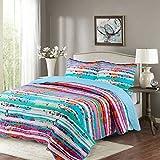 vivinna home textile Quilt Twin Sets -2pcs Prewashed, Peshrunk. Hypoallerginic, Cloud Stitching(Twin:68'' 88'', light blue)