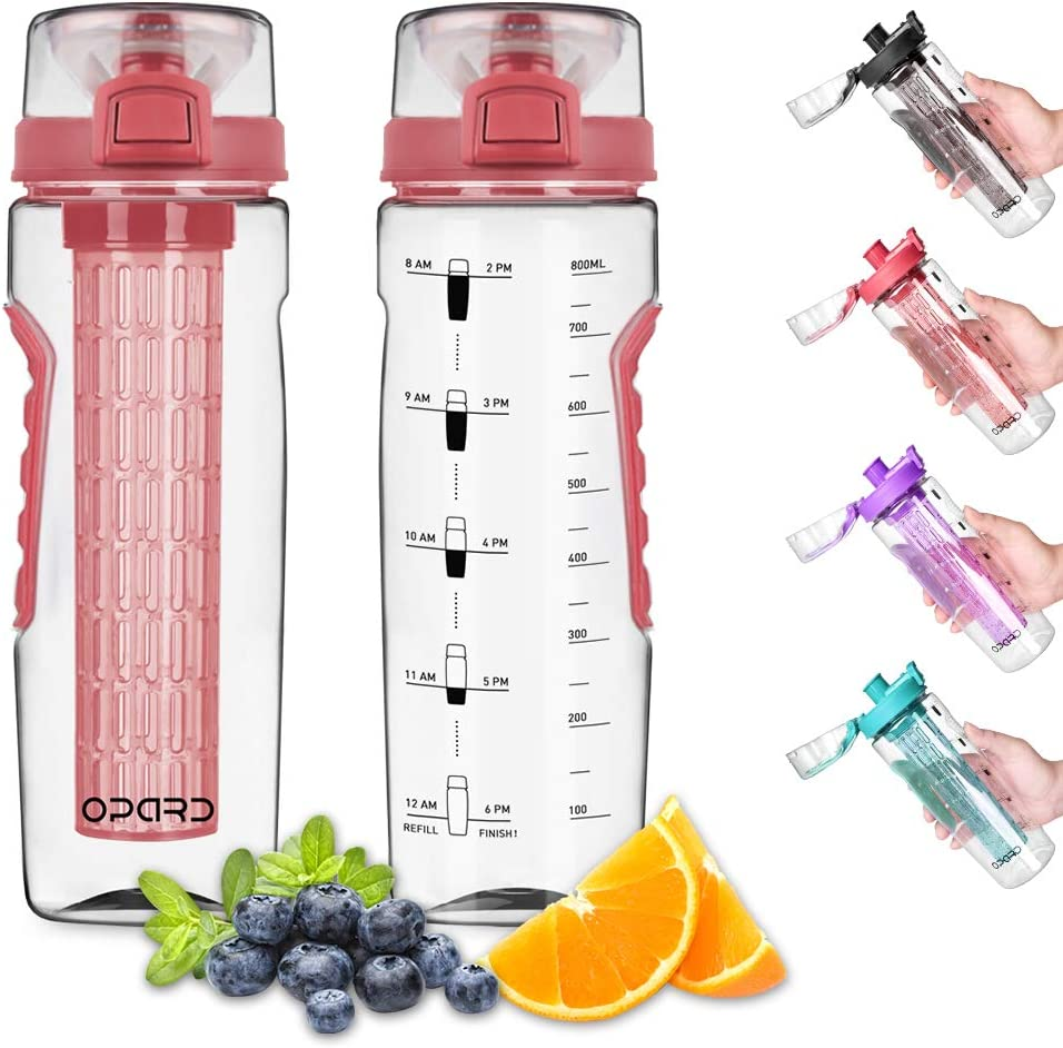 Opard Fruit Infuser Water Bottle with Time Marker, 30 oz BPA Free Infusion Daily Water Bottles Track Water Intake with Leak Proof Flip Top Lid, Infusion Rod, Cleaning Brush and Recipe