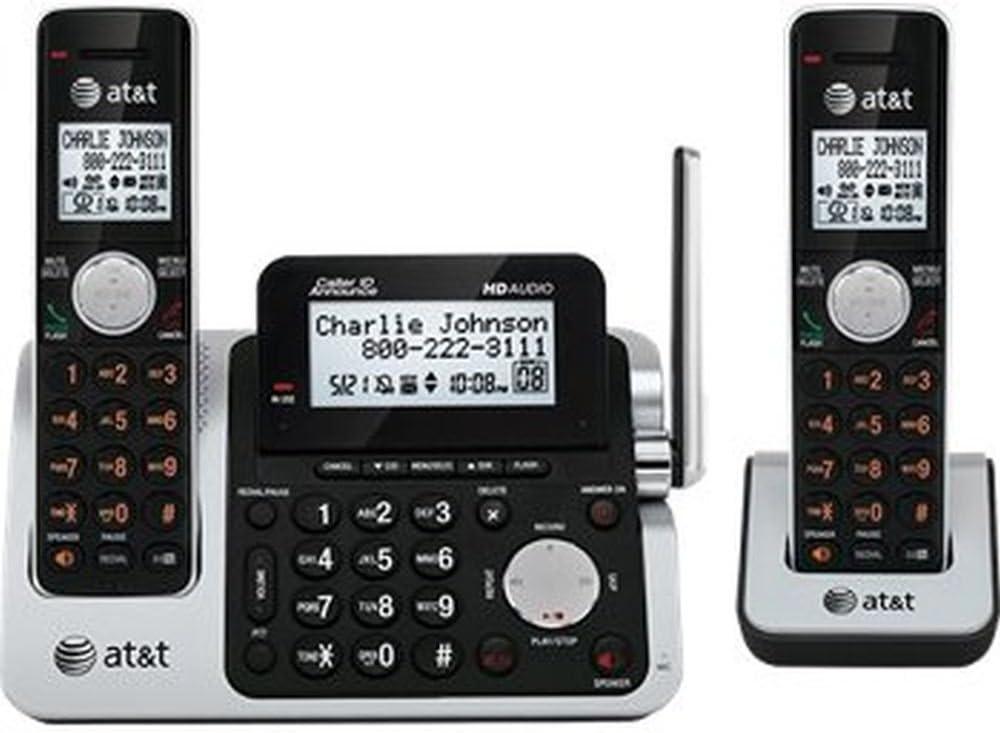 Amazon Com At T Cl83201 Dect 6 0 Cordless Phone Black Silver 2 Handsets Cordless Telephones Electronics